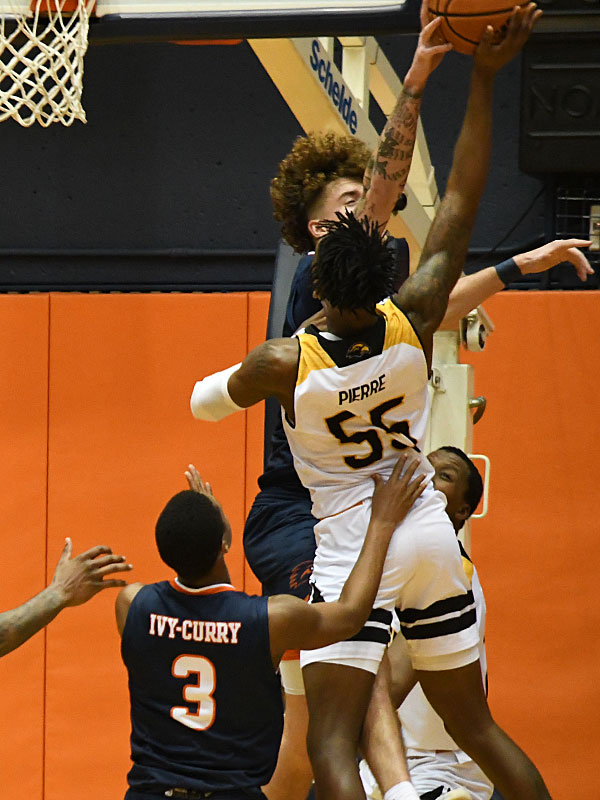 UTSA's Jacob Germany blocks a shot by Southern Miss' Jaron Pierre Jr. with 18 seconds left in the game. UTSA beat Southern Miss 78-72 in Conference USA action at the Convocation Center on Saturday, Jan. 23, 2021. - photo by Joe Alexander