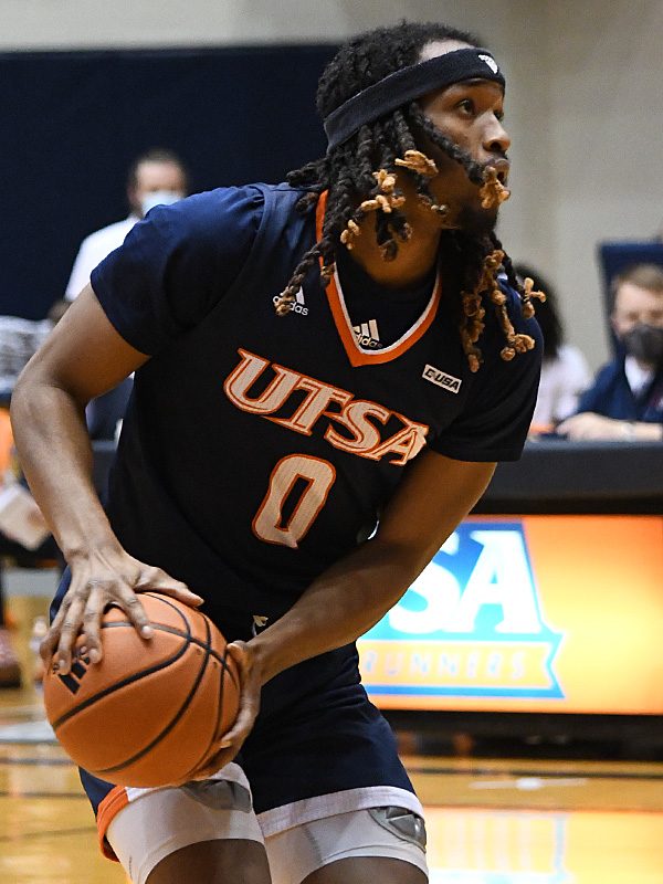 Cedrick Alley Jr. UTSA beat Florida Atlantic 86-75 at the Convocation Center on Saturday, Feb. 13, 2021, in the second game of a Conference USA men's college basketball back-to-back. - photo by Joe Alexander