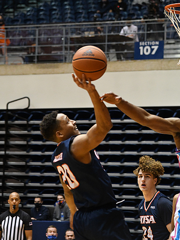 Eric Parrish. UTSA beat Florida Atlantic 86-75 at the Convocation Center on Saturday, Feb. 13, 2021, in the second game of a Conference USA men's college basketball back-to-back. - photo by Joe Alexander