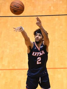 Jhivvan Jackson. UTSA beat Florida Atlantic 86-75 at the Convocation Center on Saturday, Feb. 13, 2021, in the second game of a Conference USA men's college basketball back-to-back. - photo by Joe Alexander