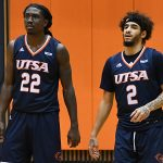 Keaton Wallace, Jhivvan Jackson. UTSA beat UAB 96-79 in Conference USA on the Roadrunners' senior day for Jhivvan Jackson, Keaton Wallace and Phoenix Ford on Feb. 27, 2021, at the Convocation Center. - photo by Joe Alexander