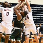 Cedrick Alley Jr., Jacob Germany. UAB beat UTSA 64-57 on Friday, Feb. 26, 2021, in Conference USA action at the UTSA Convocation Center. - photo by Joe Alexander