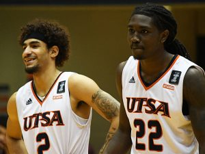 Jhivvan Jackson, Keaton Wallace. UTSA beat Southwestern Adventist from Keene, Texas, 123-43 in a non-conference game on Thursday, March 4, 2021, at the UTSA Convocation Center. - photo by Joe Alexander