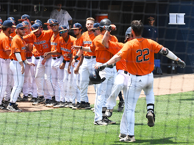 UTSA celebrates after Griffin Paxton (22) hit a three-run homer in the first inning to give the Roadrunners an 8-3 lead over Old Dominion. - photo by Joe Alexander