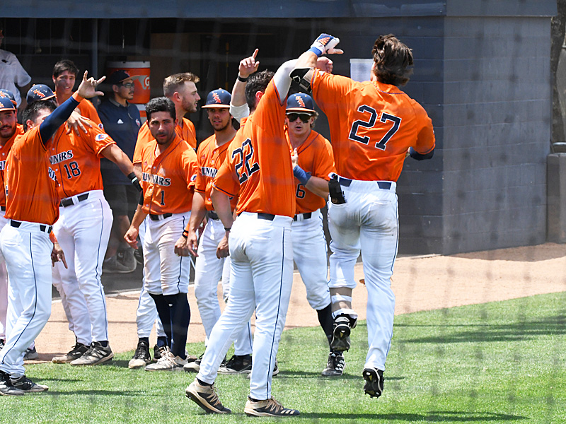 UTSA celebrates after Dylan Rock (27) homered to score his second run of the first inning and give the Roadrunners a 9-3 lead over Old Dominion. - photo by Joe Alexander