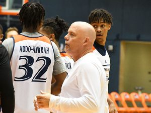 UTSA men's basketball coach Steve Henson at the first practice for the 2021-22 season at the UTSA Convocation Center. - photo by Joe Alexander